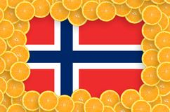 Norway flag in fresh citrus fruit slices frame. Norway flag in frame of orange citrus fruit slices. Concept of growing as well as import and export of citrus royalty free illustration