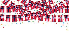 Norway flag garland white background with confetti, Hang bunting for Norway independence Day. Celebration template banner, Vector illustration Vector Illustration