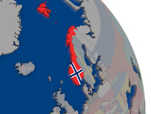 Norway with flag on globe Royalty Free Stock Photos