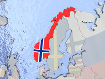 Norway with flag on globe Royalty Free Stock Photo