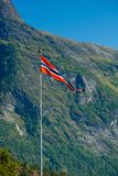 Norway flag - nature and travel background Royalty Free Stock Photography