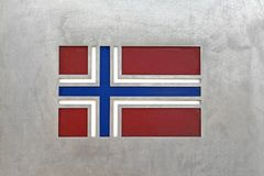 Norway flag. At metal background stock photos