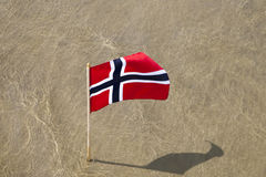 Norway flag. Norway flag at norwegian coast stock image