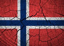 Norway flag. Painted on old wood background royalty free stock image