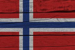 Norway flag painted on old wood plank. Patriotic background. National flag of Norway vector illustration