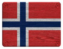 Norway flag. Painted on wood tag stock image