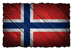 Norway flag. Painted on wood tag stock photography