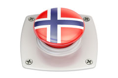 Norway flag push button, 3D. Rendering Royalty Free Stock Images