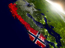 Norway with flag in rising sun Stock Photo