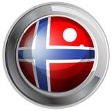 Norway flag on round badge. Illustration Stock Photography