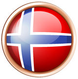 Norway flag on round button. Illustration Stock Images