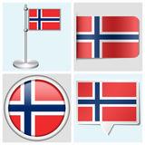 Norway flag - set of sticker, button, label. Norway flag - set of various sticker, button, label and flagstaff Royalty Free Illustration