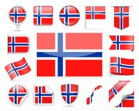 Norway Flag Vector Set Stock Image