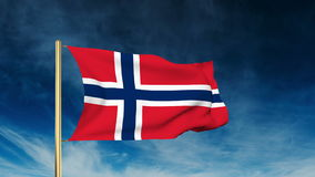Norway flag slider style. Waving in the wind with stock video footage