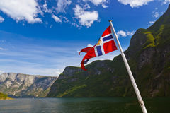 Norway flag and Sognefjord. Nature and travel background royalty free stock photos