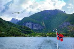 Norway flag and Sognefjord Royalty Free Stock Images
