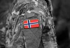 Norway flag on soldiers arm collage.  royalty free stock photography