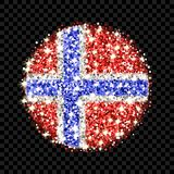 Norway flag sparkling badge. Kingdom of Norway flag sparkling badge. Round icon with Norwegian national colors with glitter effect. Button design. Vector Stock Photos