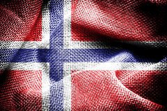 Norway Flag. Texture of sackcloth with the image of the Norway Flag royalty free stock photo