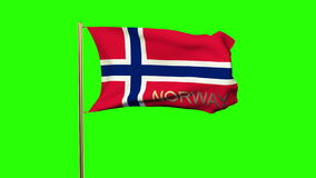 Norway flag with title waving in the wind. Looping stock video
