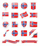 Norway Flag Vector Set Royalty Free Stock Images