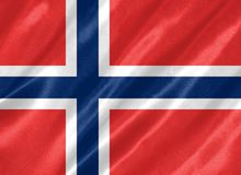 Norway Flag. With waving on satin texture royalty free illustration
