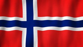Norway flag waving in the wind. Closeup of realistic Norwegian flag with highly detailed fabric texture