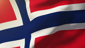 Norway flag waving in the wind. Looping sun rises stock footage