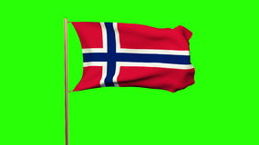 Norway flag waving in the wind. Looping sun rises stock video