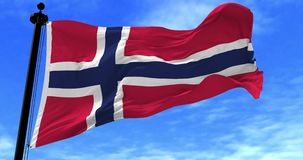 Norway Flag in the Wind. Close up Norway flag blowing in the wind, looped slowmotion, 4K stock video footage