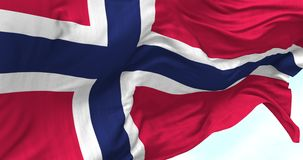 Norway Flag in the Wind. Close up Norway flag blowing in the wind, looped slowmotion, 4K stock footage