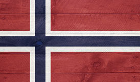 Norway - flag on wood boards with nails Royalty Free Stock Photos