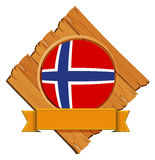 Norway flag on wooden board. Illustration Stock Photography