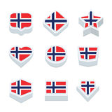 Norway flags icons and button set nine styles Royalty Free Stock Photography