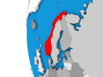 Norway on globe Royalty Free Stock Photos