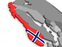 Norway on globe with flag Royalty Free Stock Images