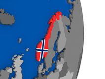 Norway on globe with flag Stock Photography
