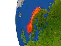 Norway on globe Stock Photography