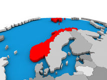 Norway on globe in red Royalty Free Stock Images