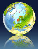Norway on globe with reflection. Illustration with detailed planet surface. Elements of this image furnished by NASA Stock Photo