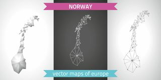 Norway grey vector polygonal maps Royalty Free Stock Photography