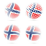 Norway halftone flag set patriotic vector design. 3D halftone sphere in Norway national flag colors isolated on white background Stock Photography