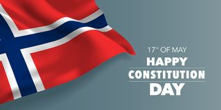 Norway happy constitution day greeting card, banner with template text vector illustration. Norwegian memorial holiday 17th of May design element with three stock illustration