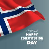 Norway happy constitution day greeting card, banner vector illustration. Norwegian holiday 17th of May design element with flag with curves vector illustration