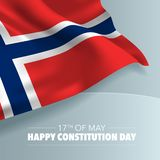 Norway happy constitution day greeting card, banner, vector illustration. Norwegian national day 17th of May background with elements of flag, square format vector illustration
