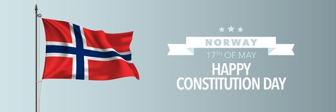 Norway happy constitution day greeting card, banner vector illustration. Norwegian national holiday 17th of May design element with waving flag on flagpole vector illustration