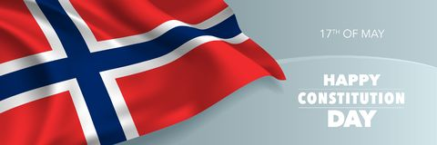 Norway happy constitution day vector banner, greeting card. Norwegian wavy flag in 17th of May national patriotic holiday horizontal design stock illustration