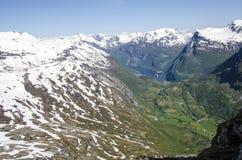 Norway- Hellesylt - Geiranger Fjords. View - Europe Travel Destination -Panorama Stock Photo