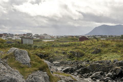 Norway houses with the mountains Stock Photos