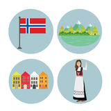 Norway icon Norwegian flag mountain building and girls in traditional costume clothes Stock Image